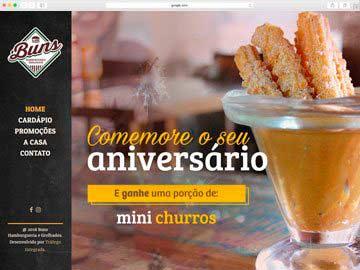 Site institucional, cardápio online, responsivo e dinâmico para hamburgueria.